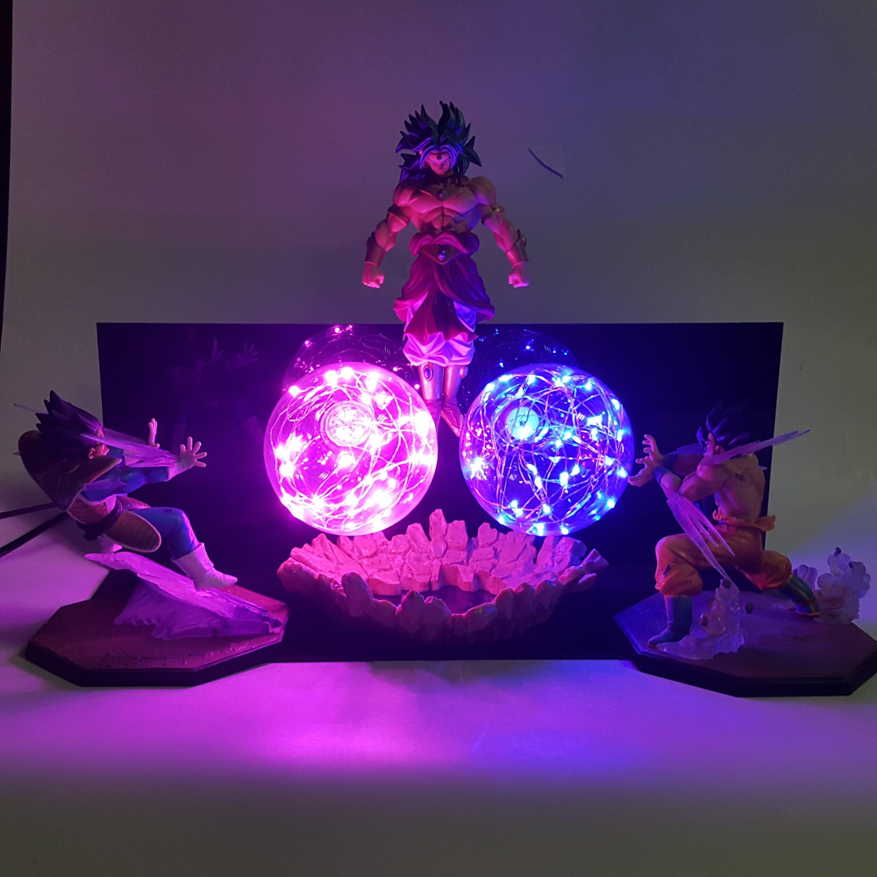 Dragon Ball Z Goku Vegeta vs Broly Led Lamp Action Figures Toy Anime Dragon Ball Super Kamehameha Figurine DBZ Brinquedos